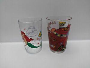 Disney-Tumbler-Glasses-Set-of-Two-Princess-amp-Cars-9-5-cm-High-Pre-owned