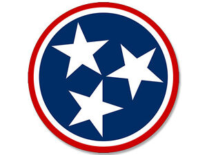 4x4 Inch Round Red Tennessee 3 Stars Sticker Tn