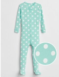 Baby-Gap-Girls-5-5T-Teal-With-White-Polka-Dots-Footed-1-Piece-Pajamas-Nwt