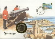 superbe enveloppe GUERNESEY GUERNSEY pièce monnaie 5 pence 1987 neuve new unc