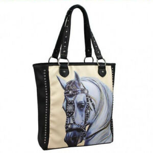HORSE-amp-WESTERN-LADIES-MONTANA-WEST-BAROQUE-HORSE-HEAD-TOTE-HANDBAG-BLACK-CREAM