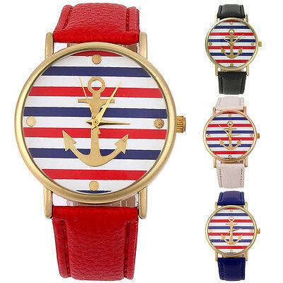 Fashion Women Lady Colorful Stripe Leather Band Analog Quartz Sport Wrist Watch
