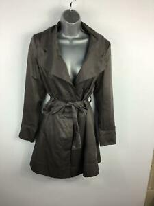 WOMENS-NEW-LOOK-GREY-SMART-CASUAL-HIDDEN-BUTTON-BELT-TRENCH-COAT-JACKET-SIZE-12