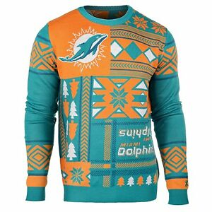 Ugly Christmas Sweater Nfl Miami Dolphins Patches Football Xmas Crew
