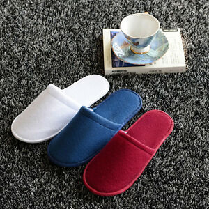 White/Red/Blue Towellingel Slippers Spa Guest Disposable Travel Shoes  HOT