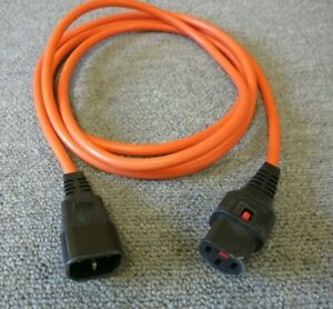Power Extension Cable IEC Male to Female Lead Orange C14 to C13 1m