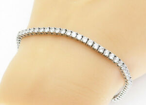 925-Sterling-Silver-Sparkling-Round-Cut-Cubic-Zirconia-Tennis-Bracelet-B5978