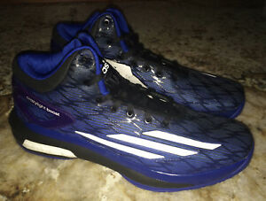 buy popular 8388a 1ff5b Image is loading ADIDAS-Crazy-Light-Boost-Black-Blue-White-Basketball-