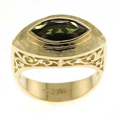 New 18k Yellow Gold and Green Tourmaline Ring