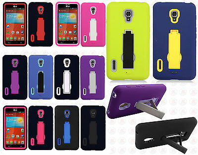LG Optimus F7 US780 IMPACT Hard Rubber Case Phone Cover Kickstand Accessory