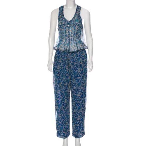Isabel Marant Etoile SZ S SALINA Blue Floral Silk
