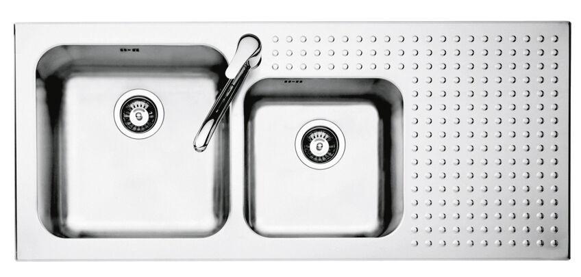 BARAZZA lavello da incasso 2 vasche + gocciolatoio 116x50 1IS12060 2D