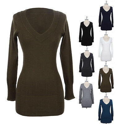 WOMEN'S WARM Solid Long Sleeve V Neck Pull Over Long KNIT Sweater Cotton S M L