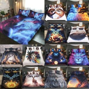 Queen-King-Full-Floral-Lion-Wolf-Elk-Animal-Bedding-Quilt-Cover-Sets-Pillowcase