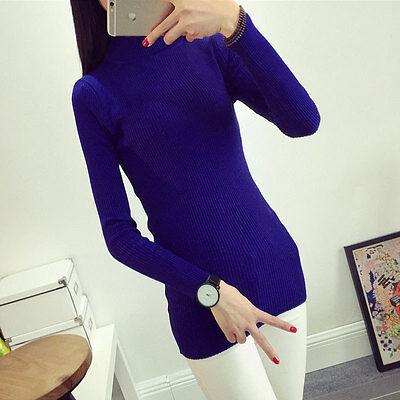 New Women's Turtleneck Long Sleeve Knitted Pullover Tops Sweater Knitwear Jumper