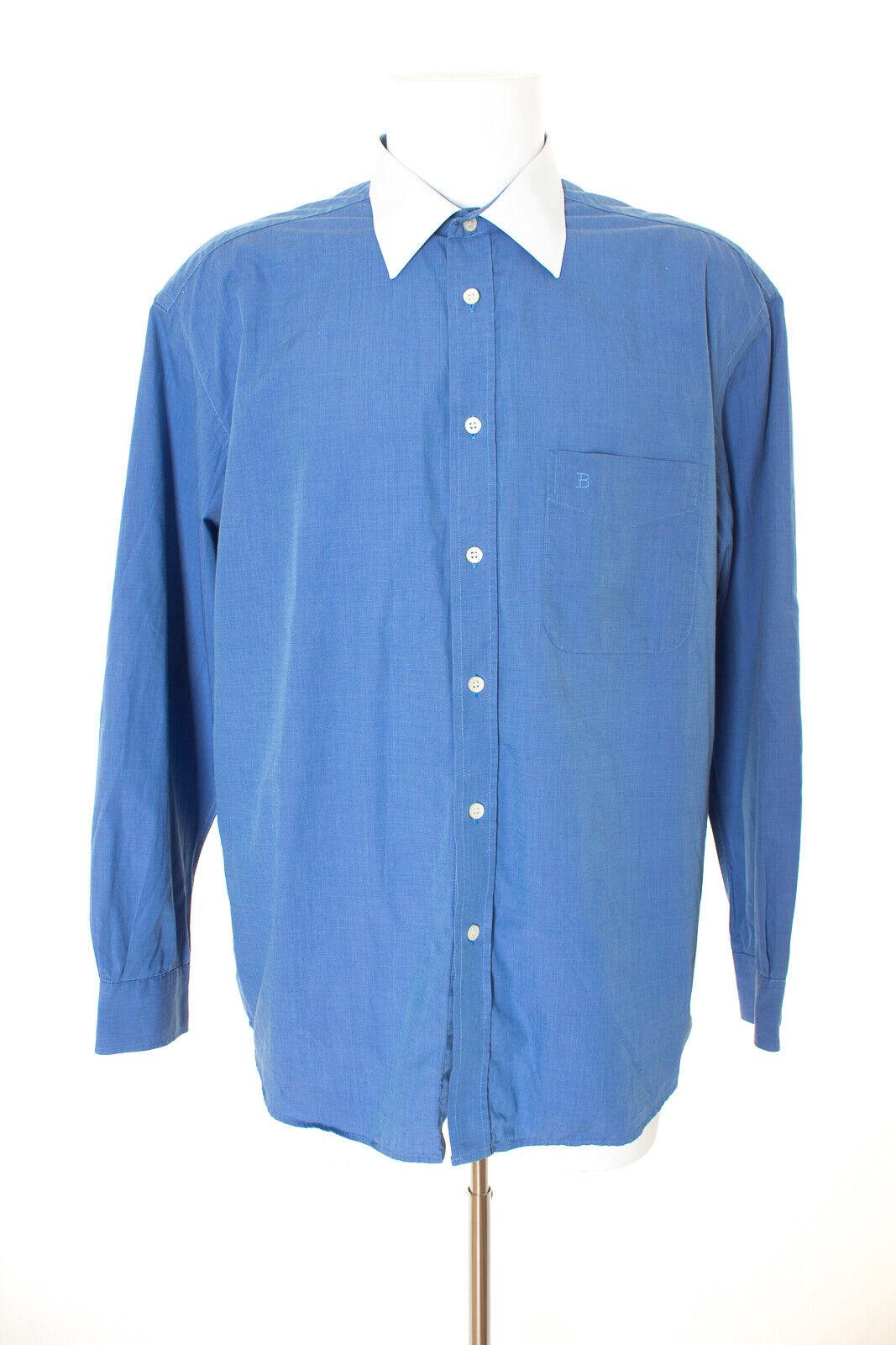 BALMAIN Camicia Classica Cotone Uomo Tg. 44 5 in blu bianco