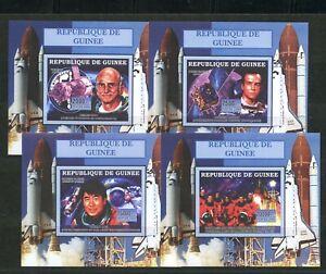 Astronauts-Space-Walk-Columbia-4-mnh-Imperf-Souvenir-Sheets-2006-Guinea