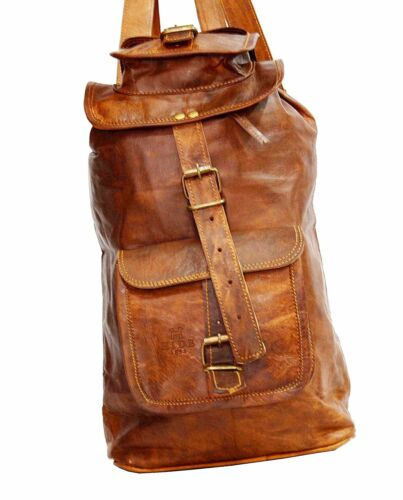 """21/"""" Men/'s Leather Backpack Bag Rucksack Messenger Laptop Satchel Genuine Vintage"""