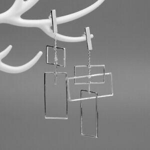 Solid-925-Sterling-Silver-Fine-Jewelry-Rectangle-Long-Drop-Earrings-for-Women