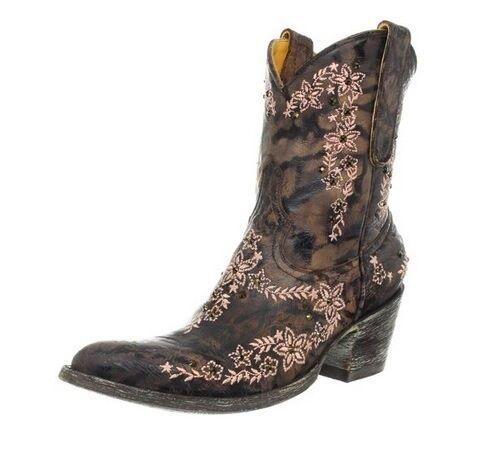 Old Gringo Sozey Swarovski Distress Western Cowboy Cowgirl Boot Chocolate L1049