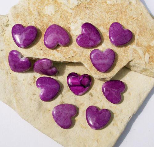 20 fancy Herzen marmoriert violett 13 x 13 mm Fädelloch 1 mm Herzperlen lila