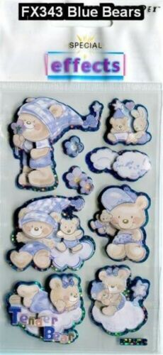 Decoration. Stickers Card Making Sparkly Teddy and Bunny Card Toppers