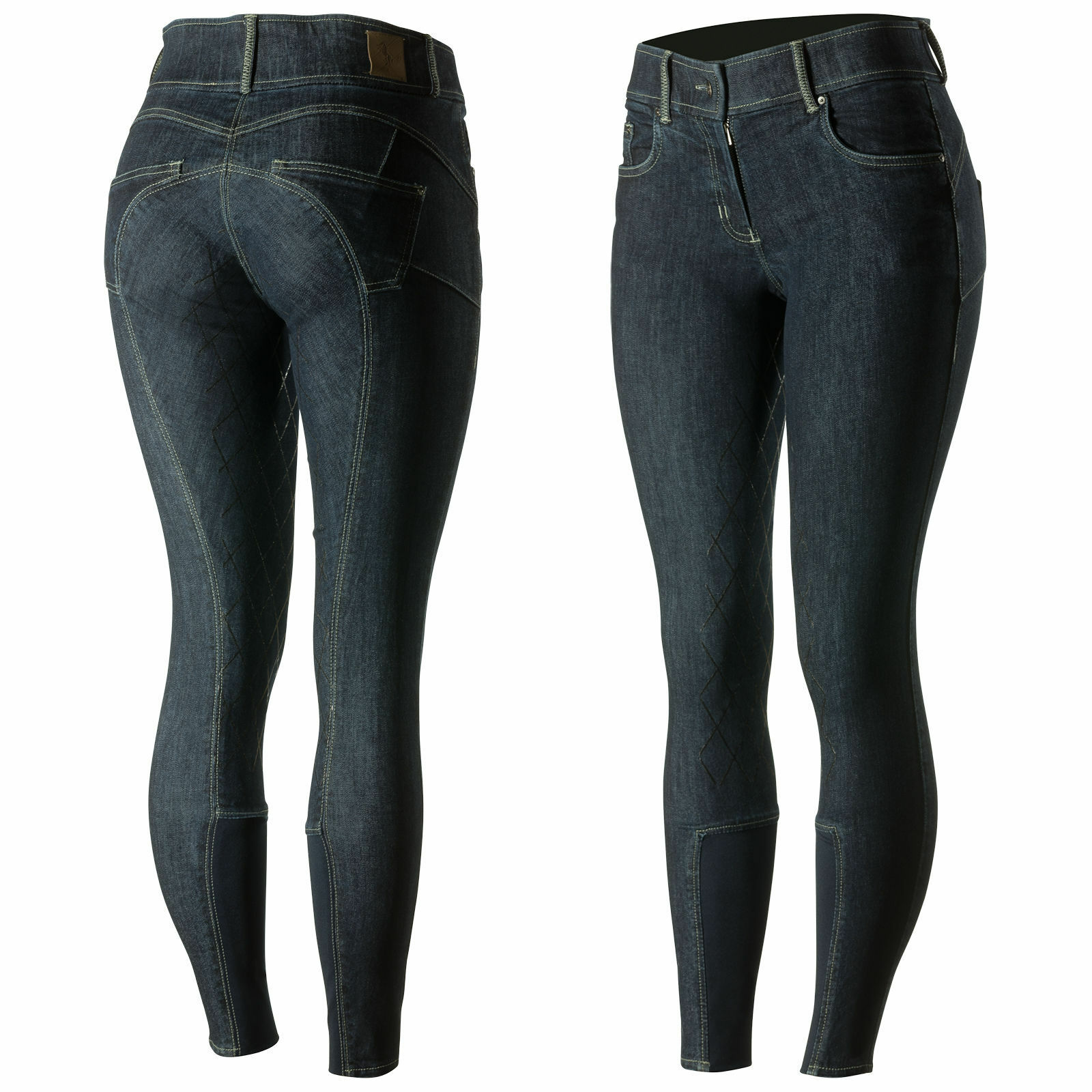 Horze Mujer Denim azul silicona de agarre asiento transpirable 4-way Stretch Calzones