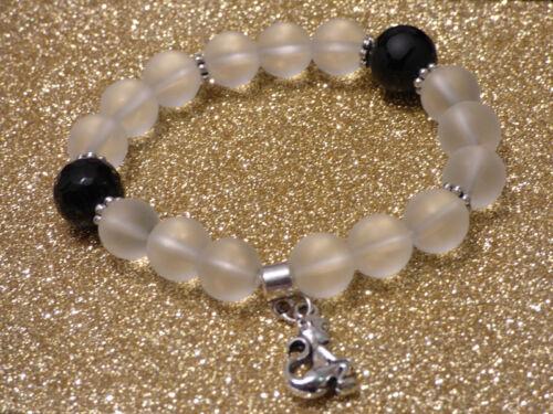 Damenarmband Armband Edelsteine handgefertigt Bergkristall /& Onyx