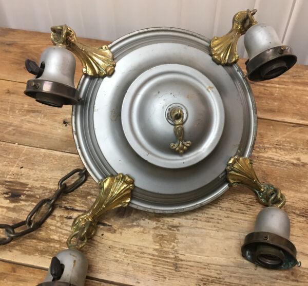 Antico Art Déco Ceiling Fissaggio Luce Lampada Pendente Appeso Nappa Metallo P&s Alleviare Il Calore E La Sete.