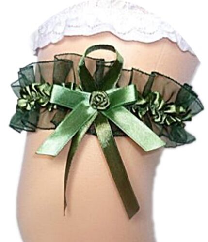 Xxl Mariée Jarretière jusqu/'à 80 CM vert olive avec rose mariage satin tulle