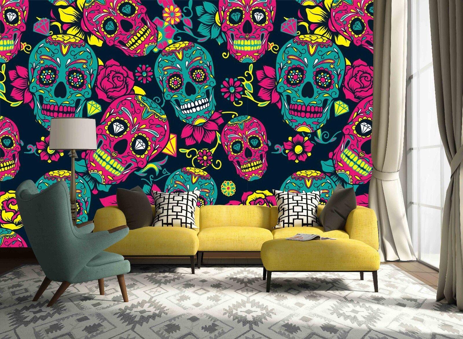 3d vitraux Crâne 833 papier peint fresque murale papier peint photo famille de lemon