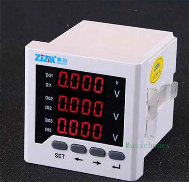 Intelligent Digital Display Voltmeter Three-phase AC Voltage Meter 80x80mm