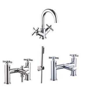 Bathroom-Mono-Basin-Sink-Mixer-Tap-Waste-Modern-Cross-Head-Handle-Curved-Spout