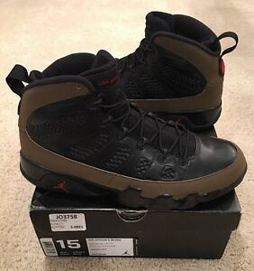 0ce51b51612 Nike Air Jordan Retro 9 IX Olive Black Varsity Red Size 15 2012 ...
