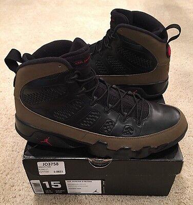 size 40 8ee1d 086f1 Nike Air Jordan Retro 9 IX Olive Black Varsity Red Size 15 2012 Sample |  eBay