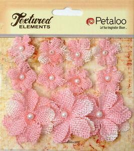 Burlap-Flowers-PINK-Approx-8-2cm-amp-3-4cm-across-Petaloo-1208-BUR