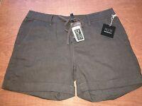 Saks Blue Brand Linen Shorts Cuffed Hem Brown Women's Small Large & Xl $79