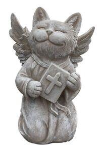 Cat Memorial Statue Praying Cat Angel Smiling with Bible Devotional Pet