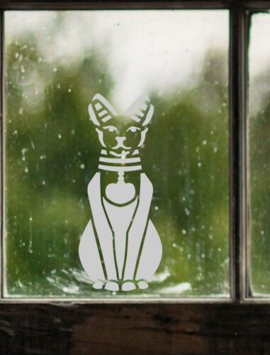 Egyptian Cat Motif Frosted Etch or Stained Glass Effect Window Sticker Decal