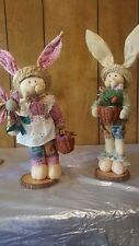 SET of CLOTH BUNNY RABBIT COUPLE Doll Wooden Base with baskets of carrots.