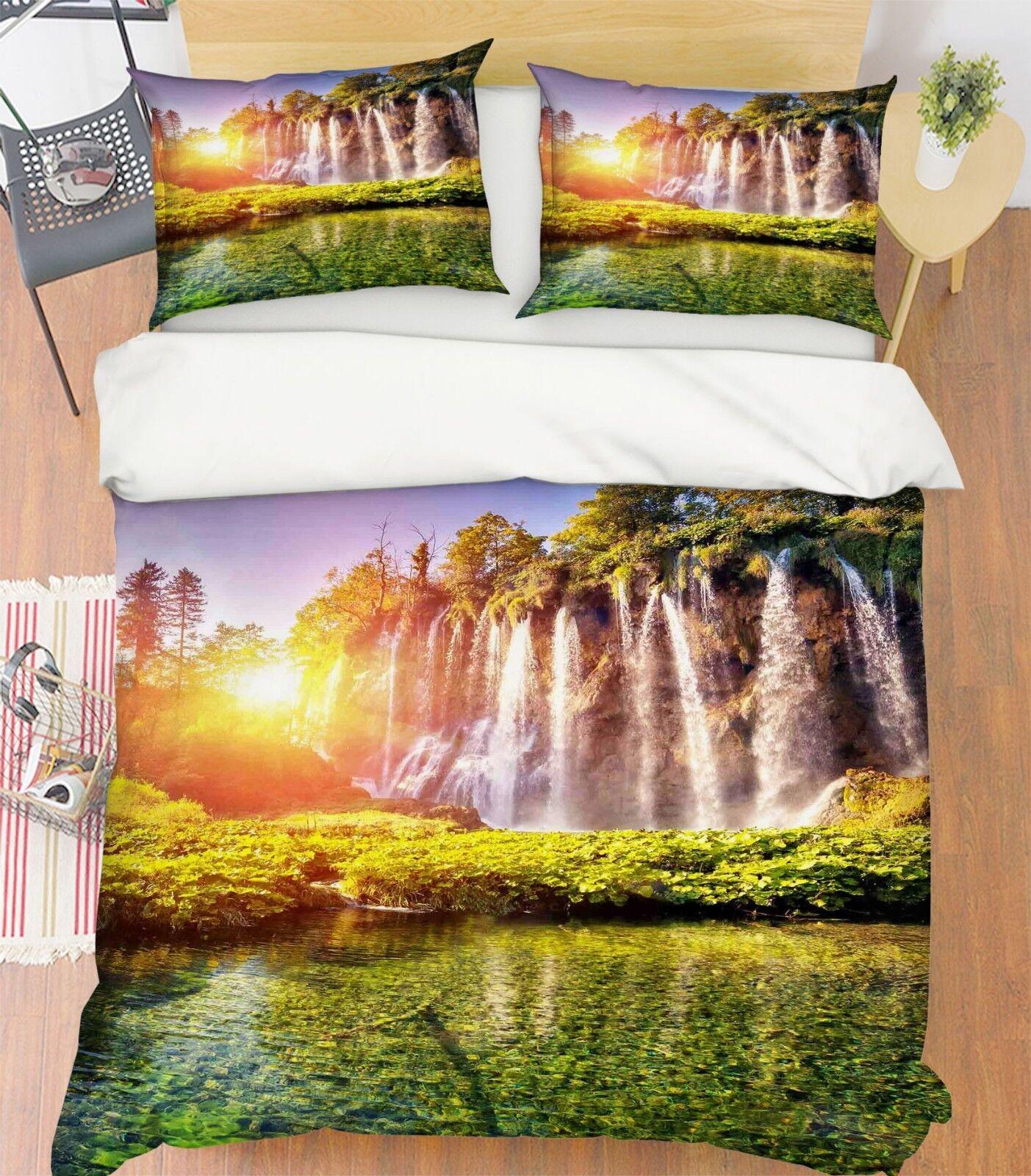 3d Sun Waterfall Forest 5 bett Cushion abdeckungs Stitch Duvet abdeckung Set Single DE