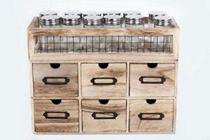 6 tiroirs Armoire étagère à épices Organisateur & 12 pots de verre de Rangement Cuisine Support  </span>