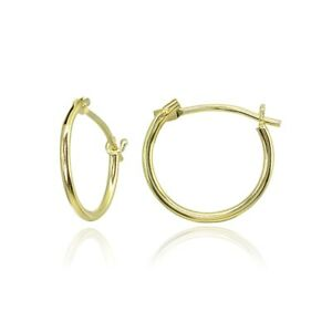 14K-Gold-Tiny-Small-12mm-Polished-Round-Thin-Lightweight-Unisex-Hoop-Earrings