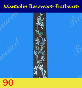 Free Shipping, Mandolin Part - Slotted Fretboard w/MOP Art Inlay (90-S)
