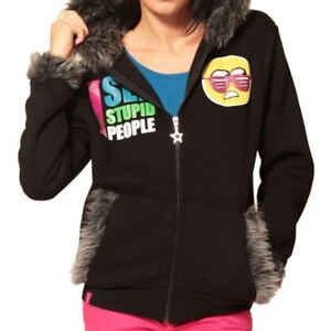 Flip-Flop-amp-Fangs-I-See-Stupid-People-Hooded-Top-Black