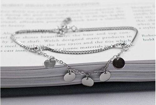 Damen Armband Fußkettchen Runde Plättchen echt Sterling Silber 925 Fußkette