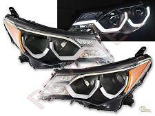 2013-2015 Toyota Rav4 Rav-4 Black Projector Headlights w/ LED Strip Bar