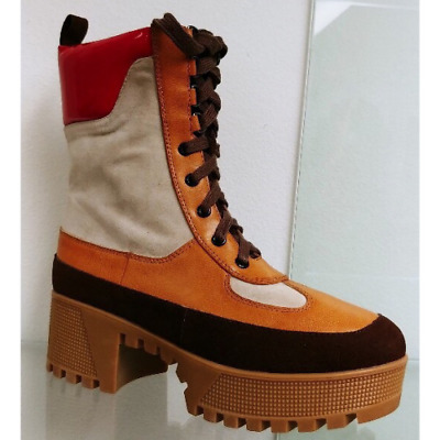 Cape Robbin Commander Natural Brown Lace Up Military Creeper Heel Platform Boots