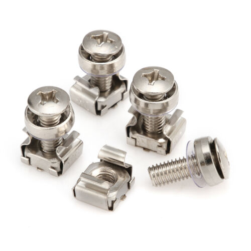 M6 Mounting Screws /& Cage Nuts for Server Rack Cabinet Rack Mount Bolts 6mm