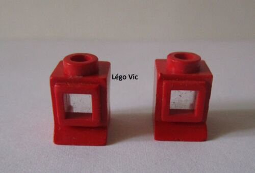 Lego 3087cc01 x2 ou 39bc01 Window 1x1x1 with fixed Glass red rouge du 722 138
